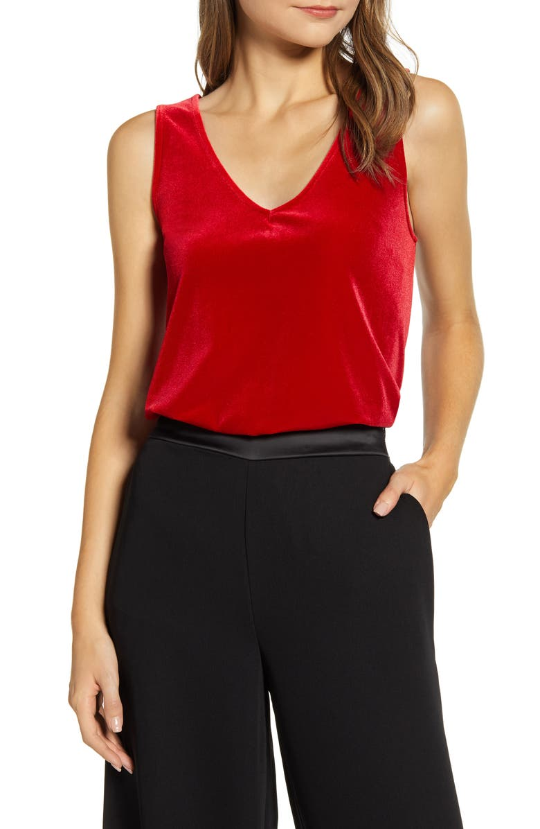 GIBSONLOOK Gibson x Hi Sugarplum! Holiday Confetti Double V-Neck Tank, Main, color, 642