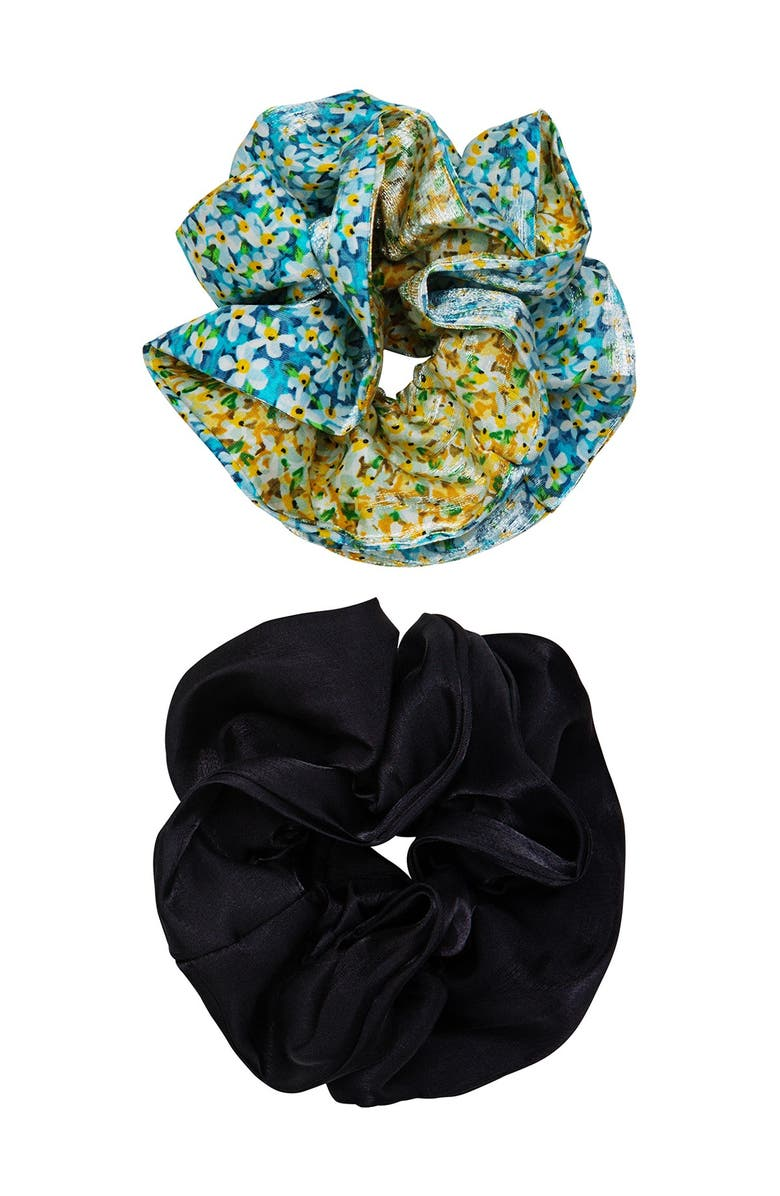 BERRY Assorted Ruffle Scrunchie - Set of 2, Main, color, BLUE GREEN