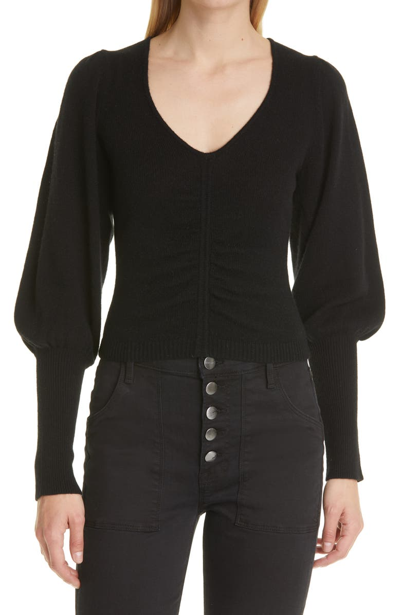 FRAME Shirred Recycled Cashmere & Wool Crop Sweater, Main, color, NOIR