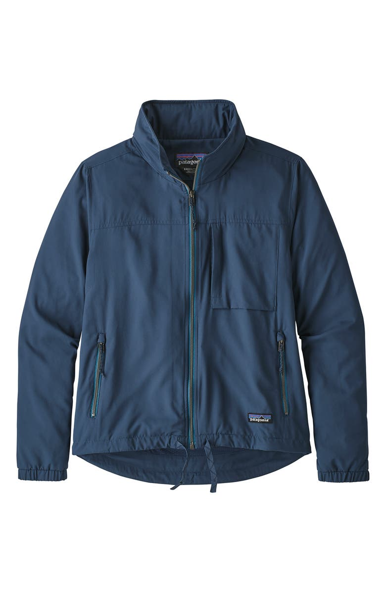 PATAGONIA Mountain View Water Resistant Hooded Windbreaker Jacket, Main, color, STONE BLUE