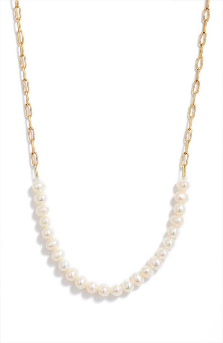 ARGENTO VIVO STERLING SILVER Pearl Frontal Necklace, Main, color, 712