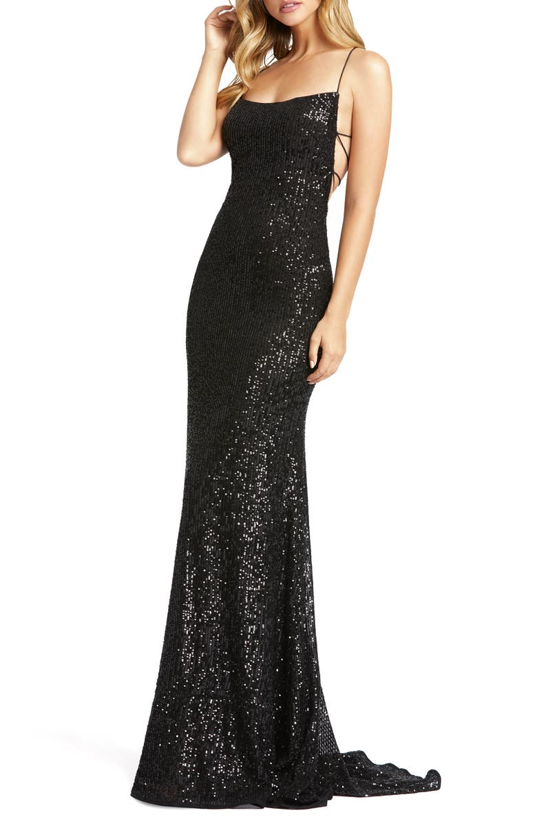 MAC DUGGAL Sequin Strappy Back Gown, Main, color, Black
