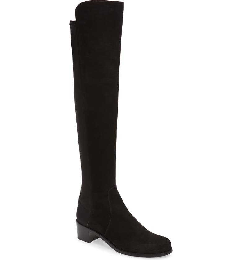 STUART WEITZMAN 'Reserve' Over the Knee Boot, Main, color, BLACK SUEDE STRETCH