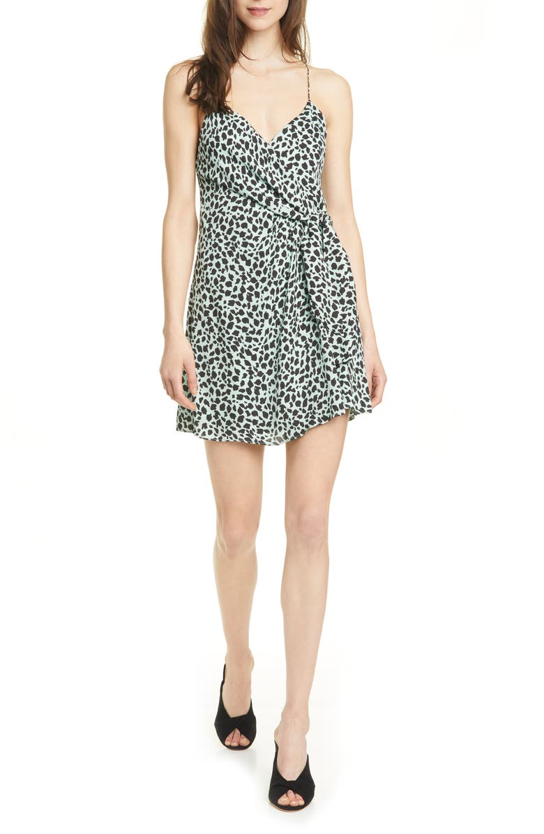 ALICE + OLIVIA Katie Cheetah Wrap Front Minidress, Main, color, CHEETAH LOVE MINT