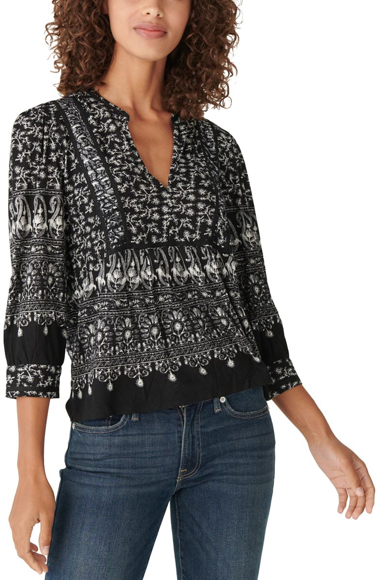 LUCKY BRAND Knit Peasant Top, Main, color, 001