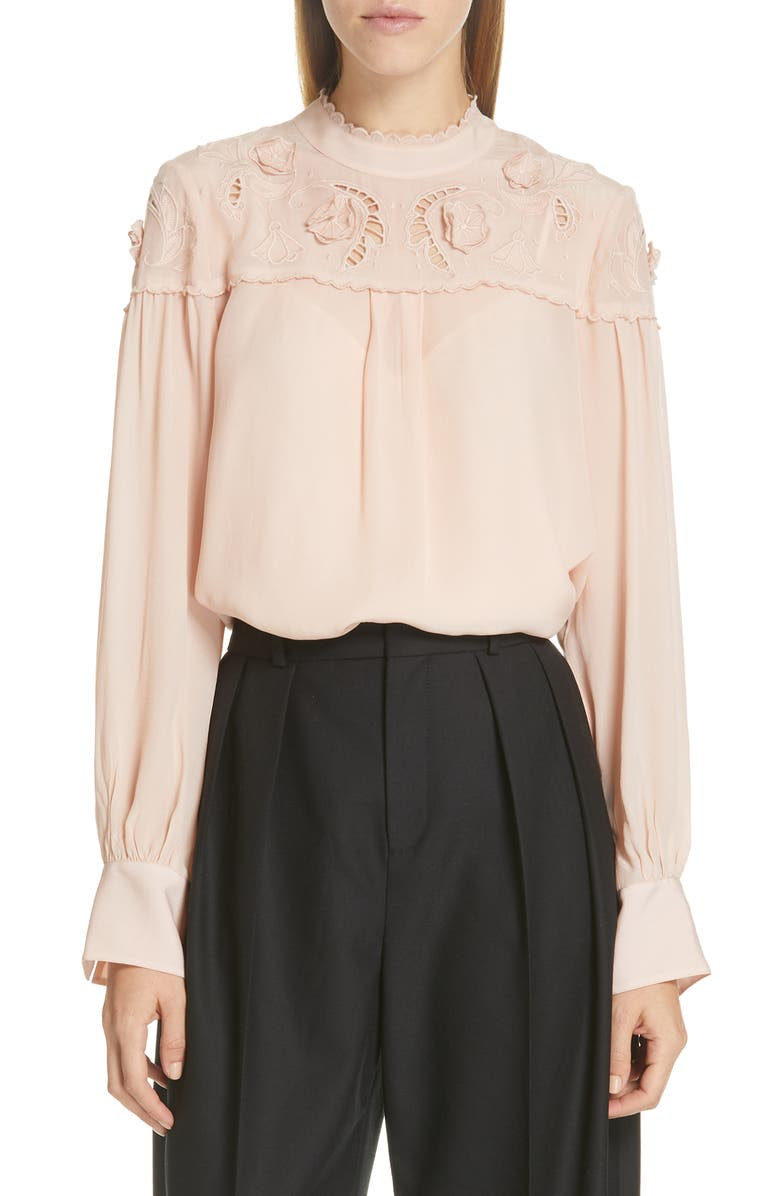 SEE BY CHLOÉ Ruffle Lace Blouse, Main, color, 680