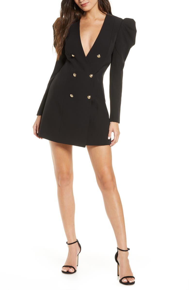 BARDOT Britt Long Sleeve Plunge Blazer Dress, Main, color, 001