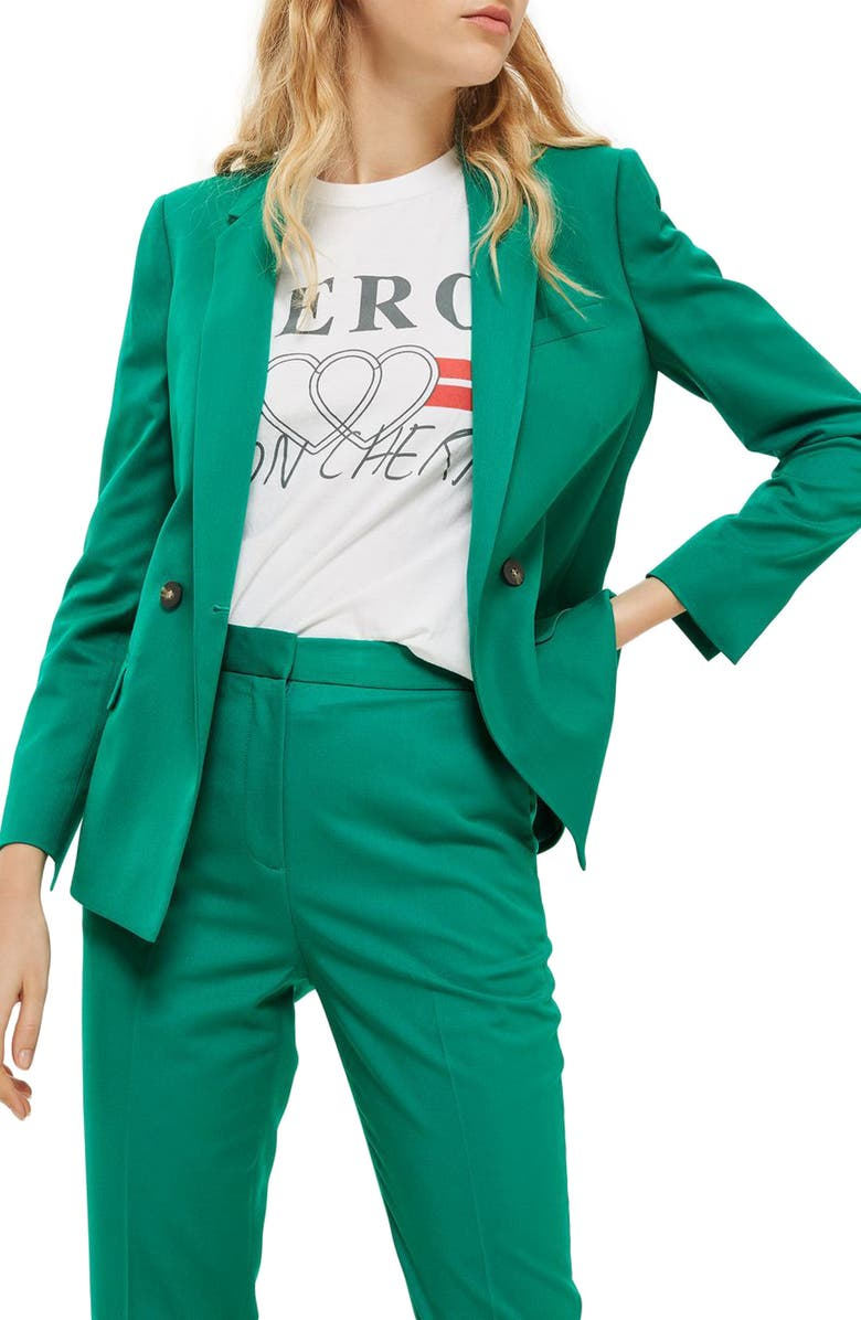 TOPSHOP Double Breasted Suit Jacket, Main, color, 300