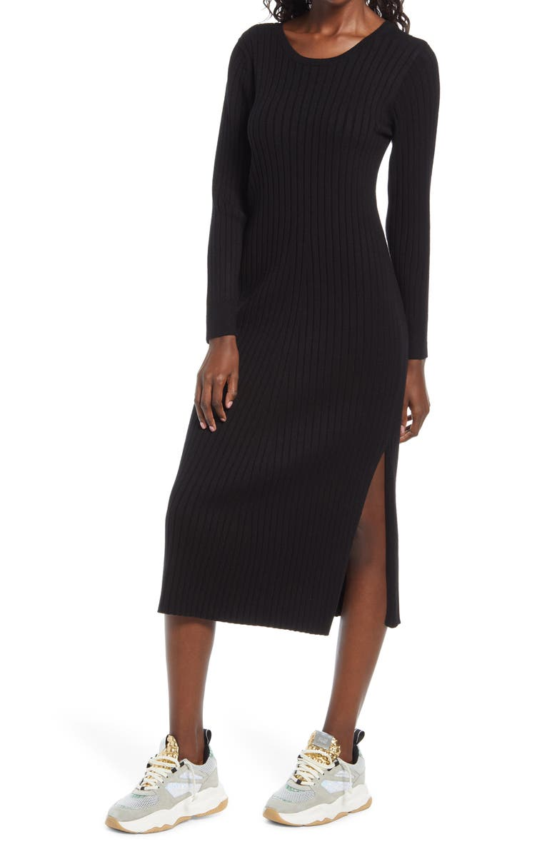 WAYF x BFF Hollie Long Sleeve Sweater Dress, Main, color, BLACK