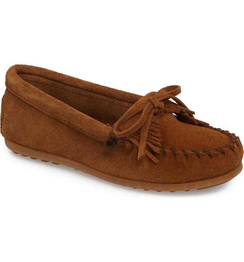 MINNETONKA Kiltie Moccasin, Main, color, DUSTRY BROWN