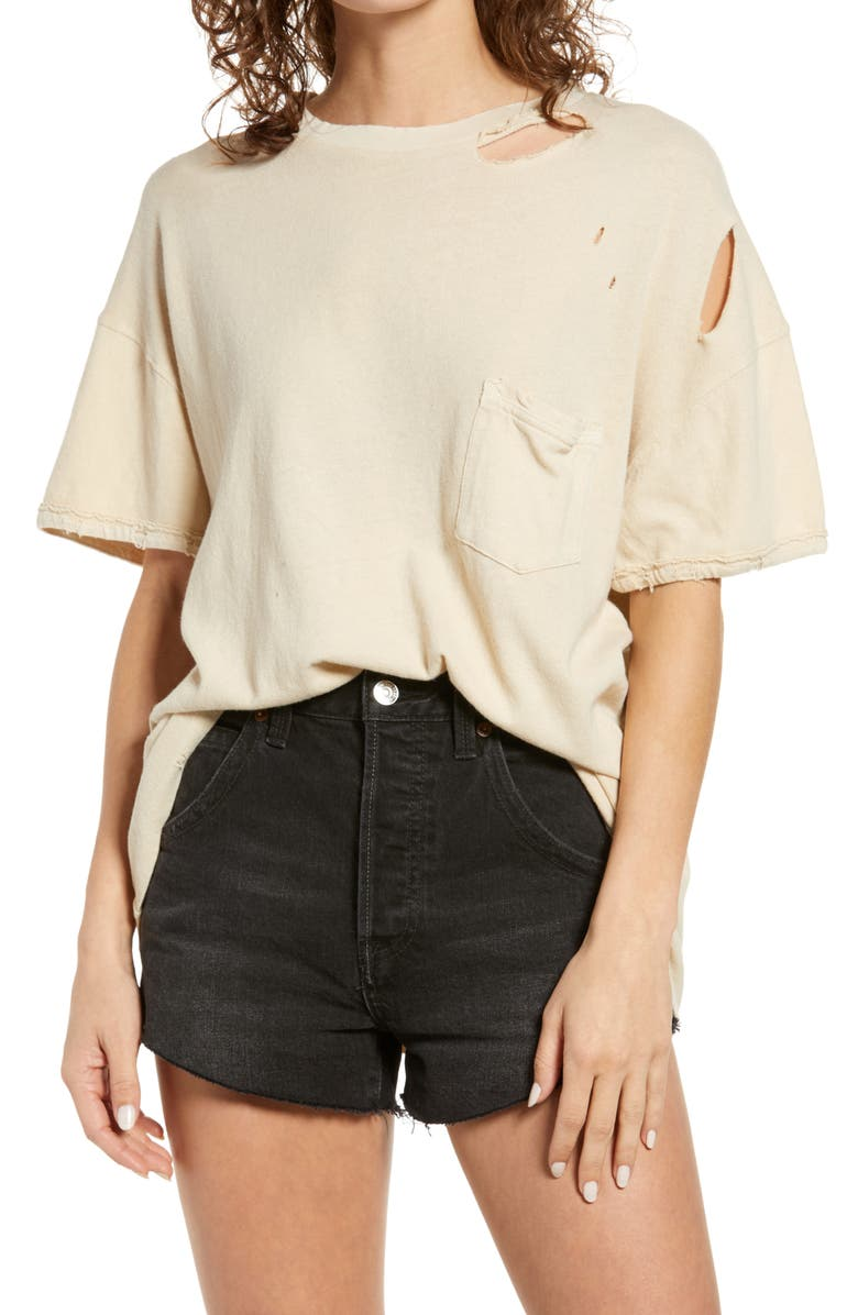 FREE PEOPLE Rubi Ripped Pocket T-Shirt, Main, color, THISTLE SEED