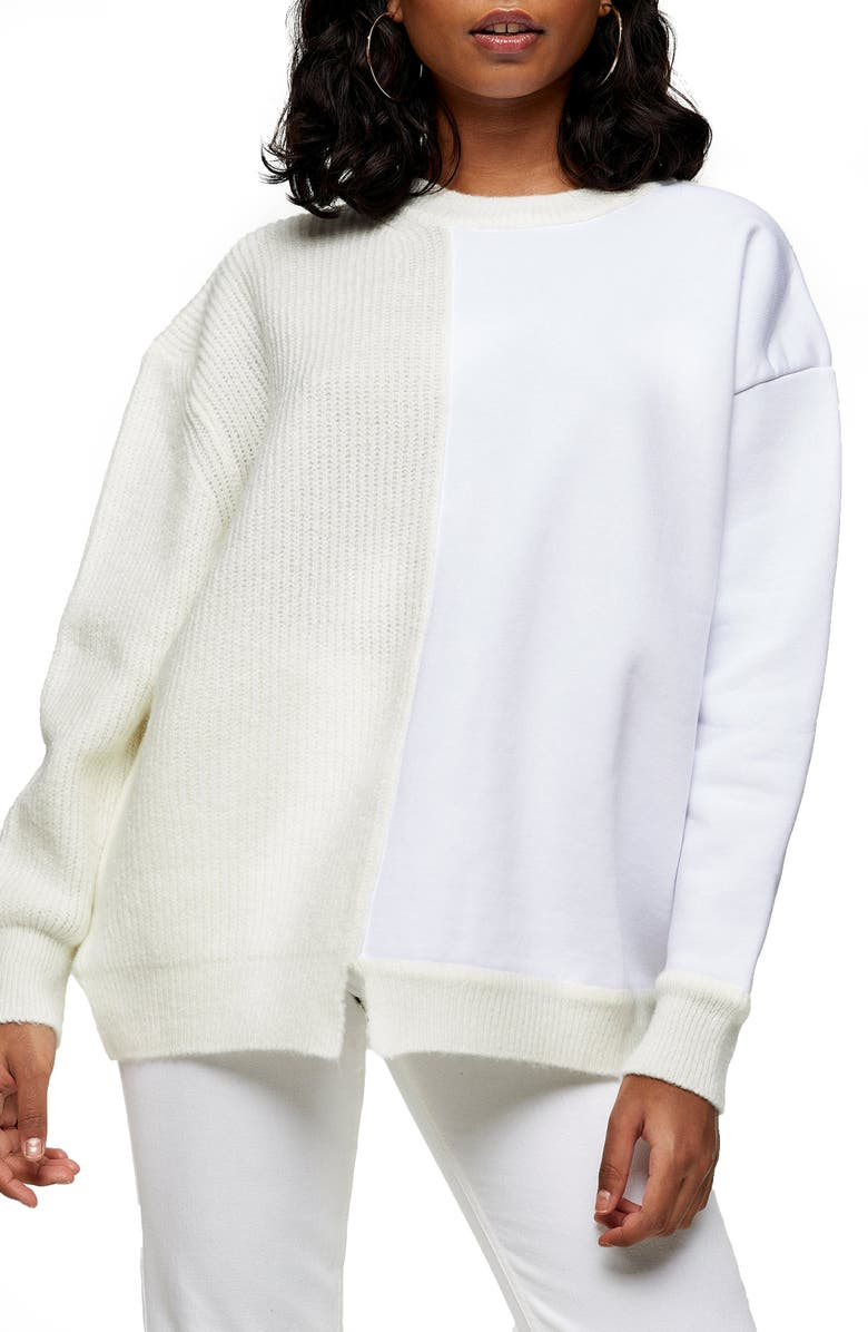 TOPSHOP Spliced Jersey Knit Sweater, Main, color, White