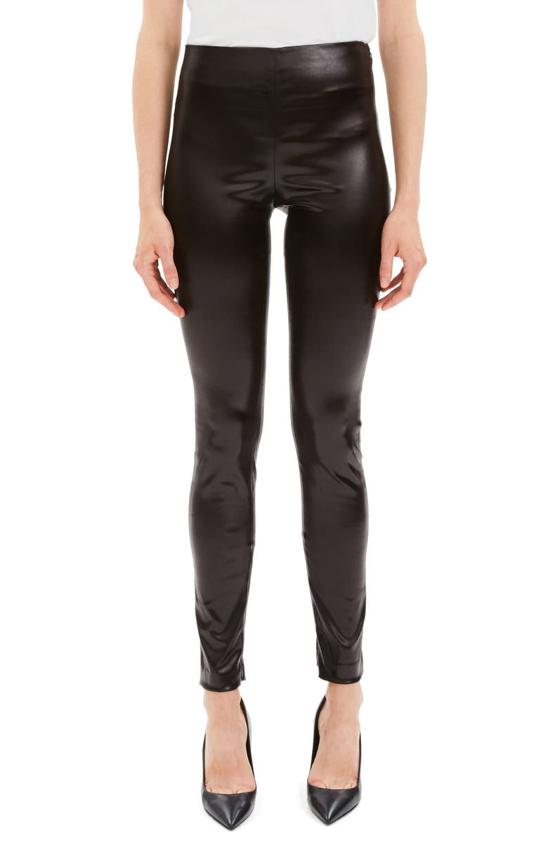 THEORY Faux Leather Leggings, Main, color, MINK BROWN