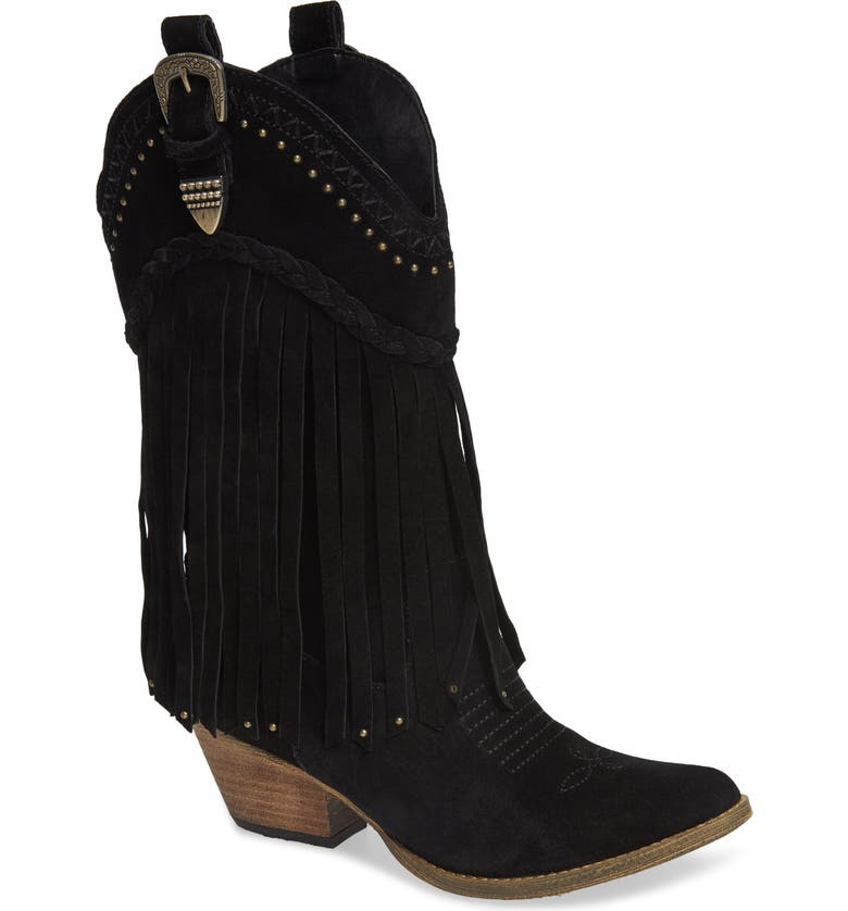 VERY VOLATILE Anderson Fringe Western Boot, Main, color, 001