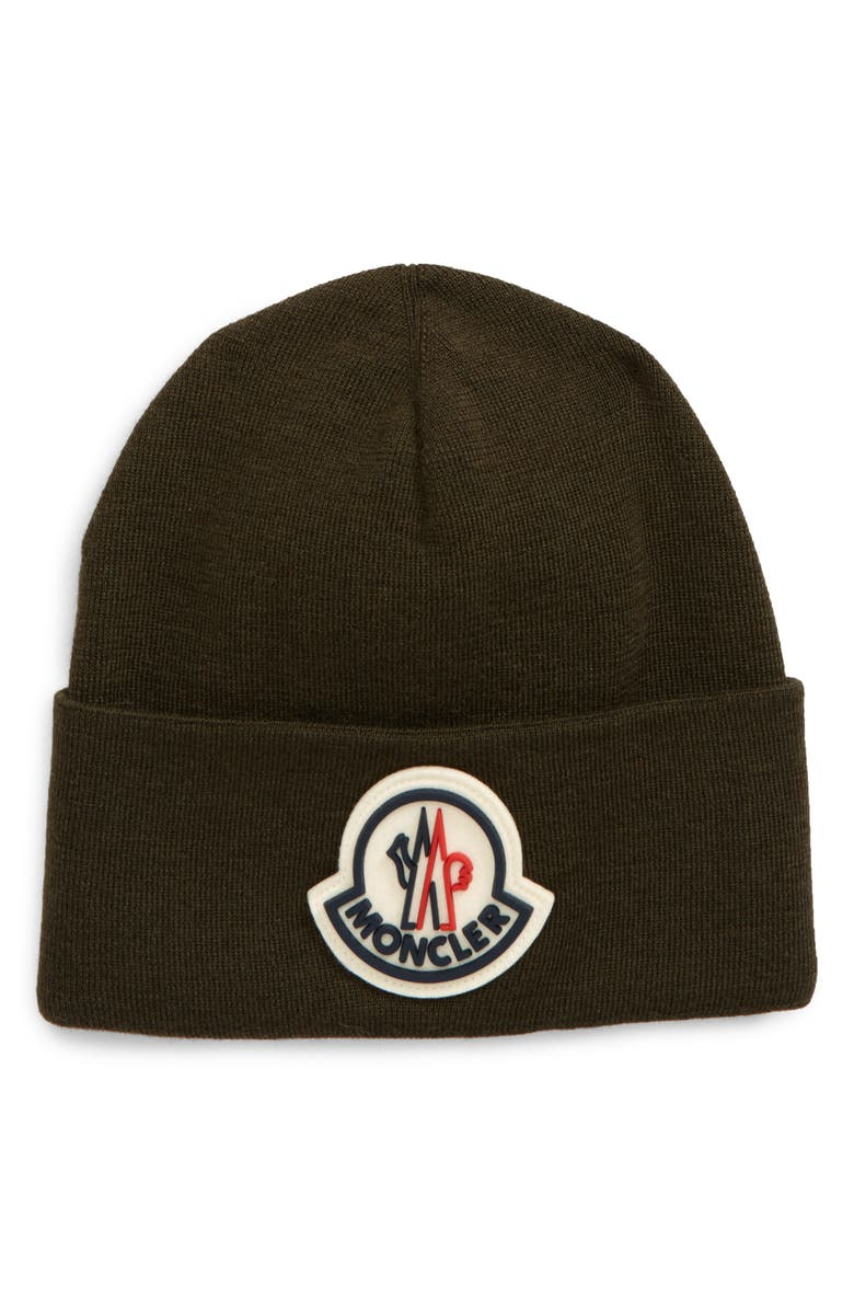 MONCLER Logo Patch Wool Beanie, Main, color, GREEN