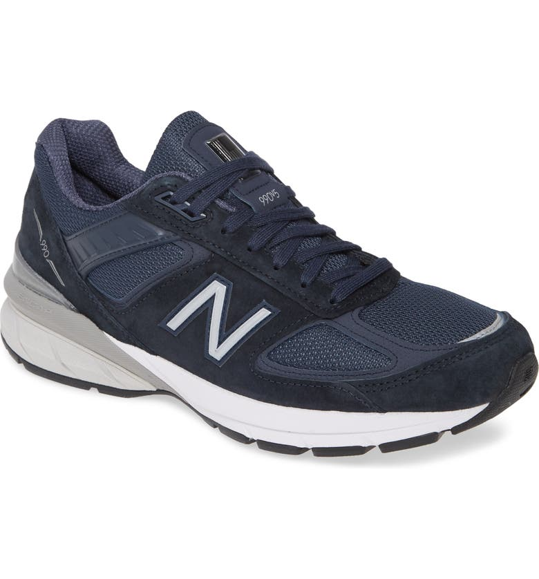 NEW BALANCE 990v5 Made in US Running Shoe, Main, color, NAVY/ SILVER SUEDE