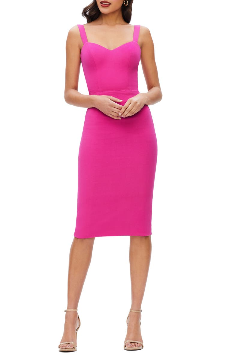 DRESS THE POPULATION Nicole Sweetheart Neck Cocktail Dress, Main, color, BRIGHT FUCHSIA