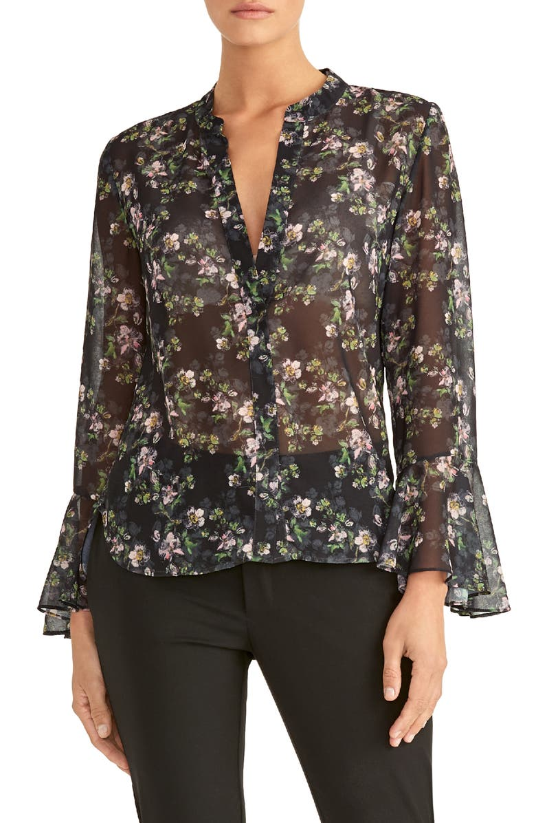 RACHEL ROY COLLECTION Floral Print Ruffle Sleeve Blouse, Main, color, 001