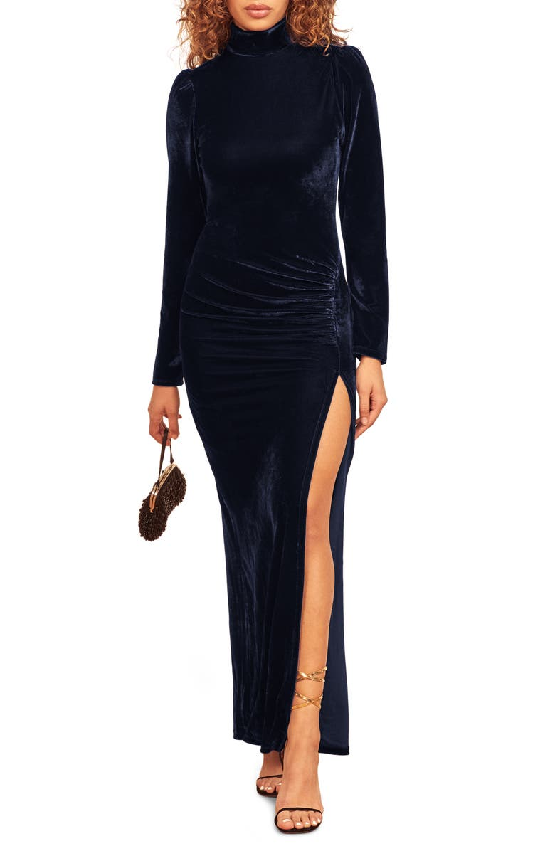 REFORMATION Moonlight Long Sleeve Gown, Main, color, NAVY