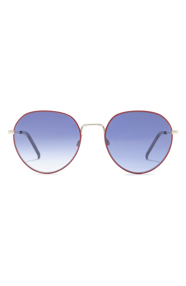 TOMMY HILFIGER 54mm Round Sunglasses, Main, color, PALL RED / BLUE SHADED