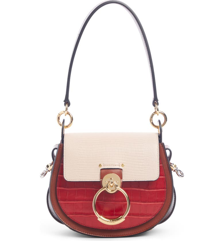 CHLOÉ Small Tess Croc & Lizard Embossed Leather Shoulder Bag, Main, color, RED/ PINK