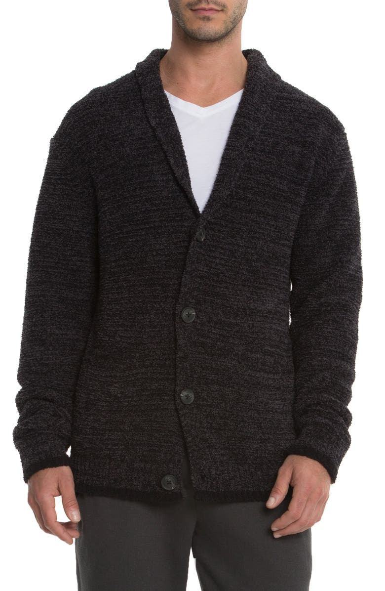 BAREFOOT DREAMS<SUP>®</SUP> Barefoot Dreams Shawl Collar Cardigan, Main, color, CARBON/ BLACK