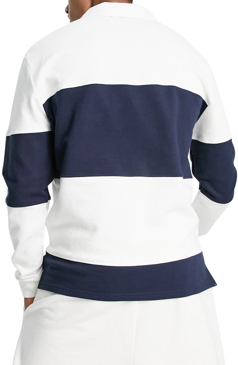 TOPMAN Stripe Rugby Shirt, Main, color, NAVY/ WHITE