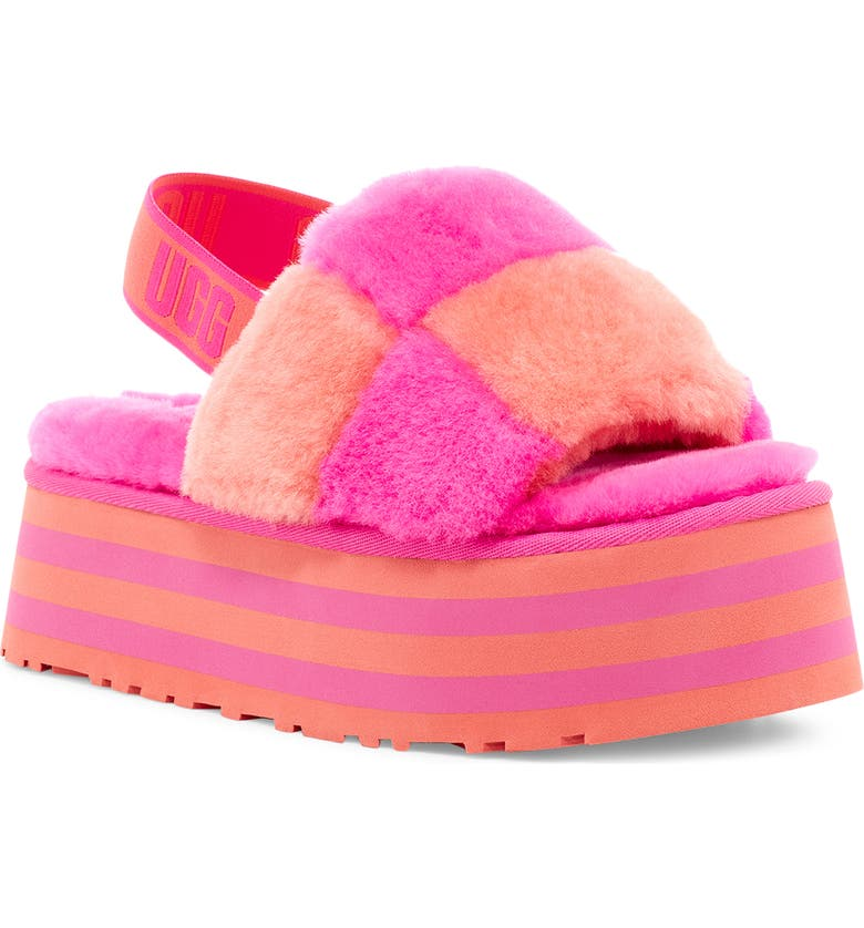 UGG<SUP>®</SUP> Disco Check Genuine Shearling Slingback Platform Slipper, Main, color, VIBRANT CORAL/ ROCK ROSE