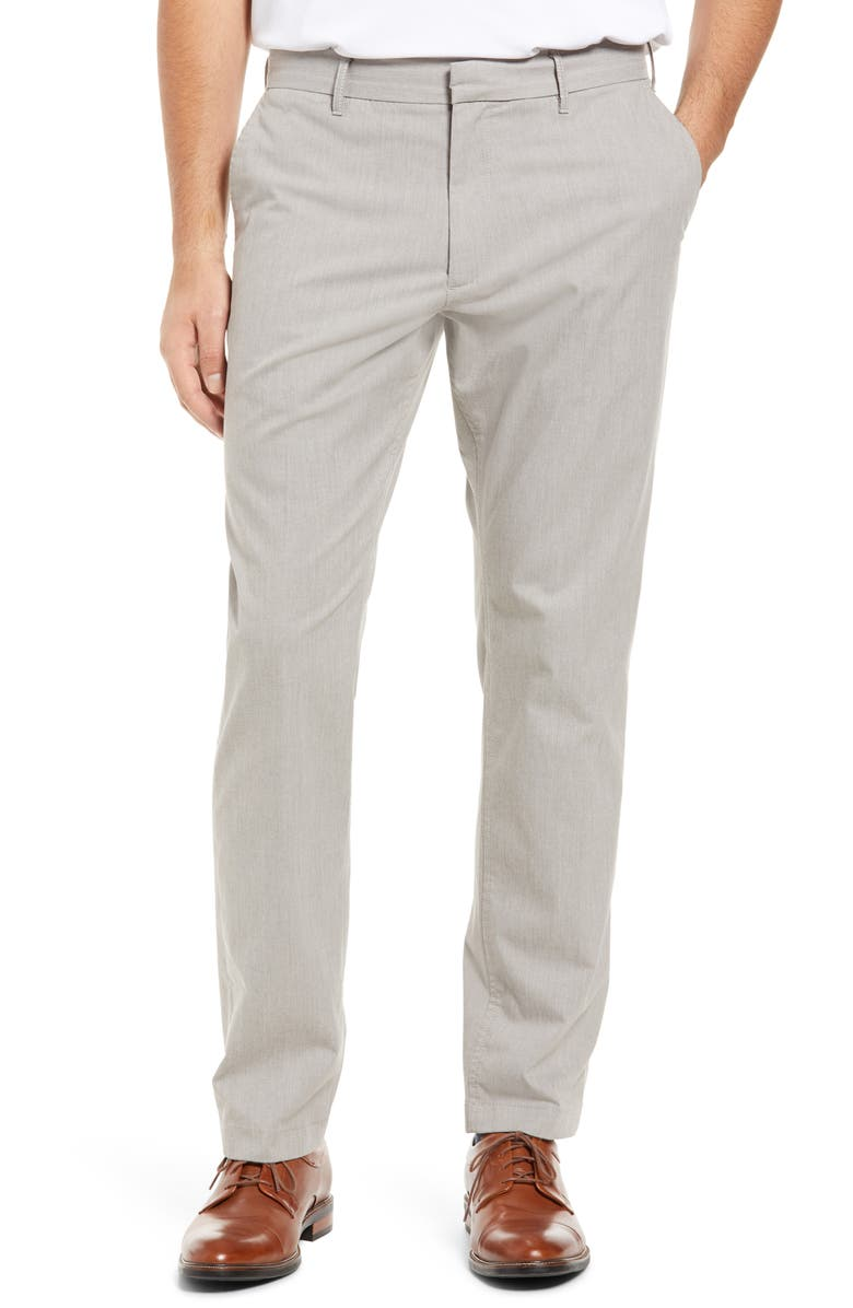 NORDSTROM Athletic Fit CoolMax<sup>®</sup> Flat Front Performance Chino Pants, Main, color, GREY OPAL HEATHER