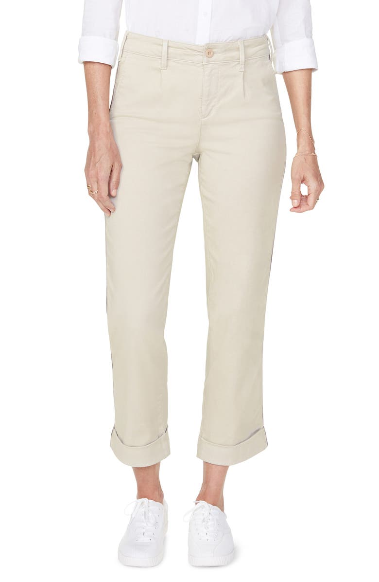 NYDJ Straight Leg Ankle Cotton Blend Chino Pants, Main, color, FEATHER