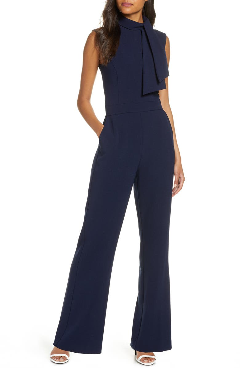 HARPER ROSE Scarf Neck Crepe Jumpsuit, Main, color, 410