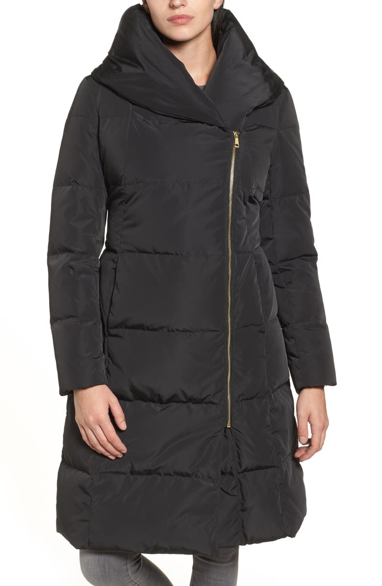 COLE HAAN SIGNATURE Cole Haan Down & Feather Coat, Main, color, 001