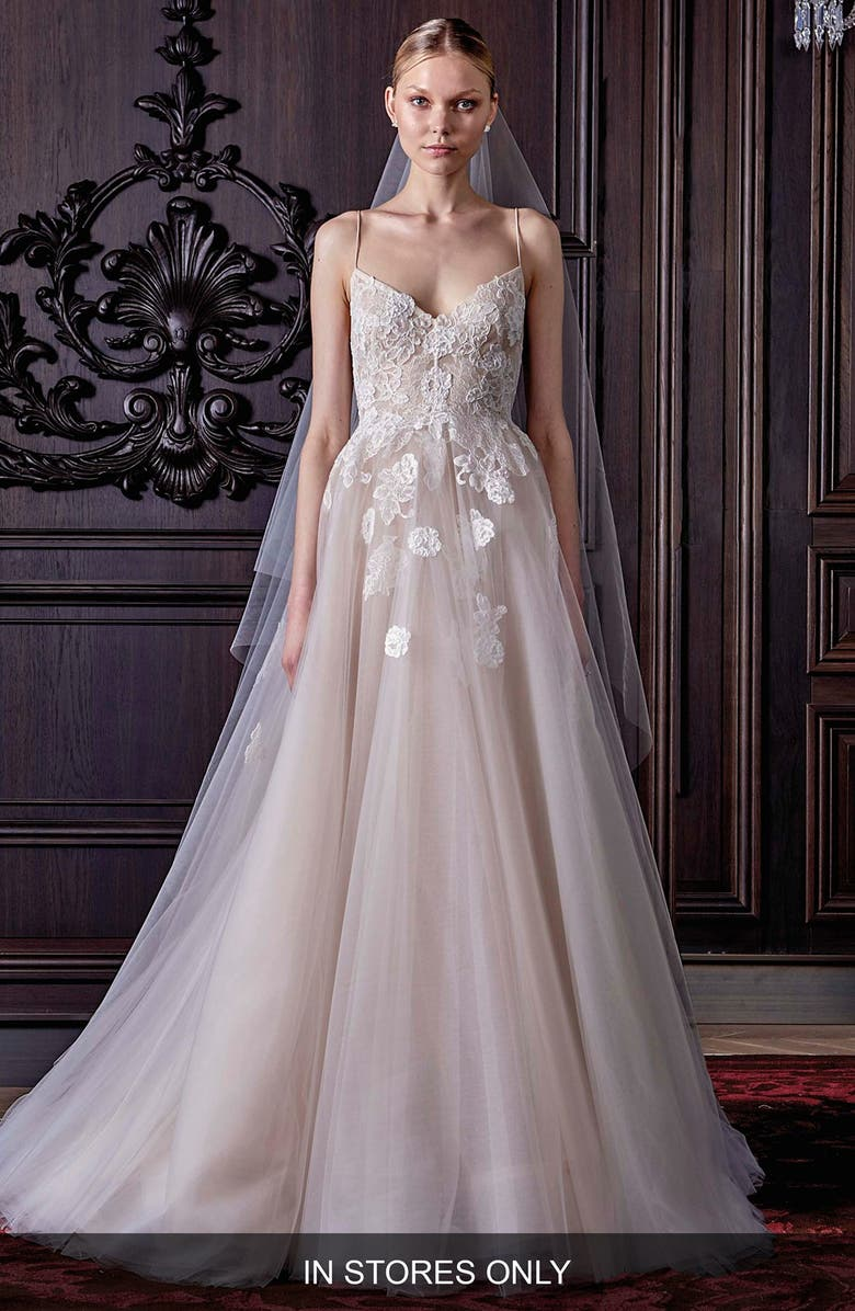MONIQUE LHUILLIER Severine Chantilly Lace & Tulle Gown, Main, color, SILK WHITE/ NUDE