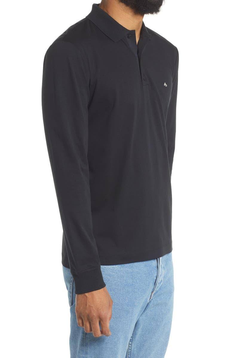 RAG & BONE Interlock Long Sleeve Polo Shirt, Main, color, BLACK
