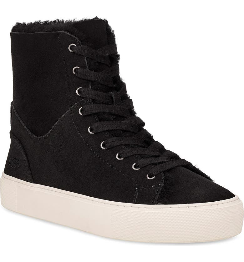 UGG<SUP>®</SUP> Beven Genuine Shearling High Top Sneaker, Main, color, 001