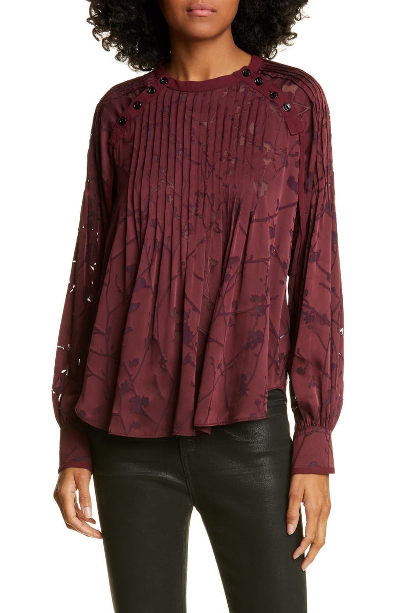 RAG & BONE Rubie Floral Burnout Blouse, Main, color, 605