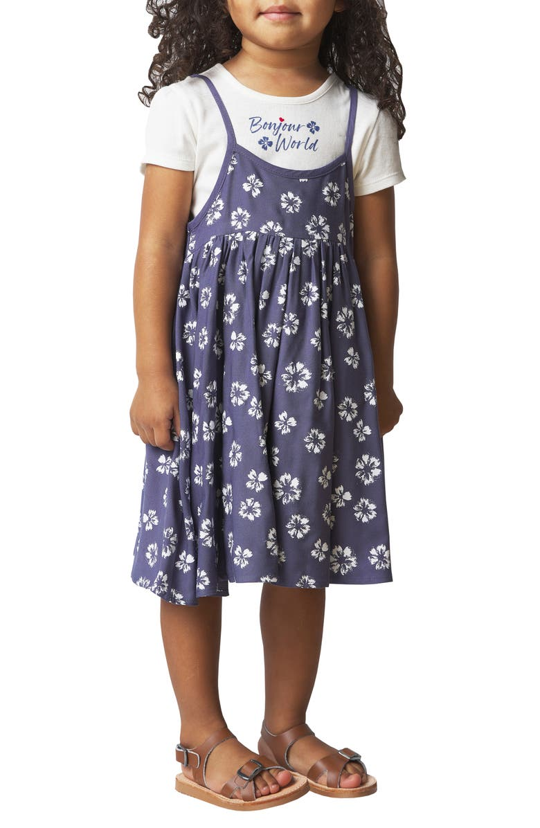 FRENCH CONNECTION Crew Tee Layered Dress, Main, color, MULTI
