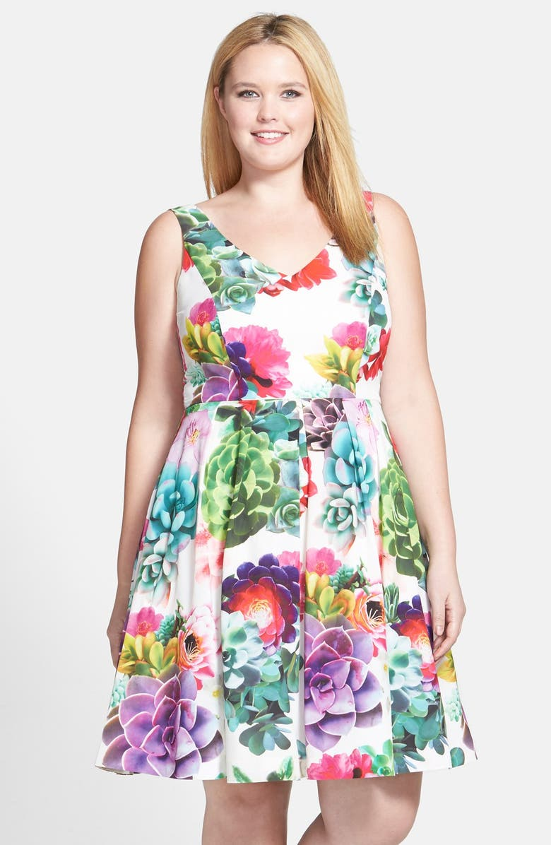 CITY CHIC 'Succulent Sweetie' Fit & Flare Dress, Main, color, 900