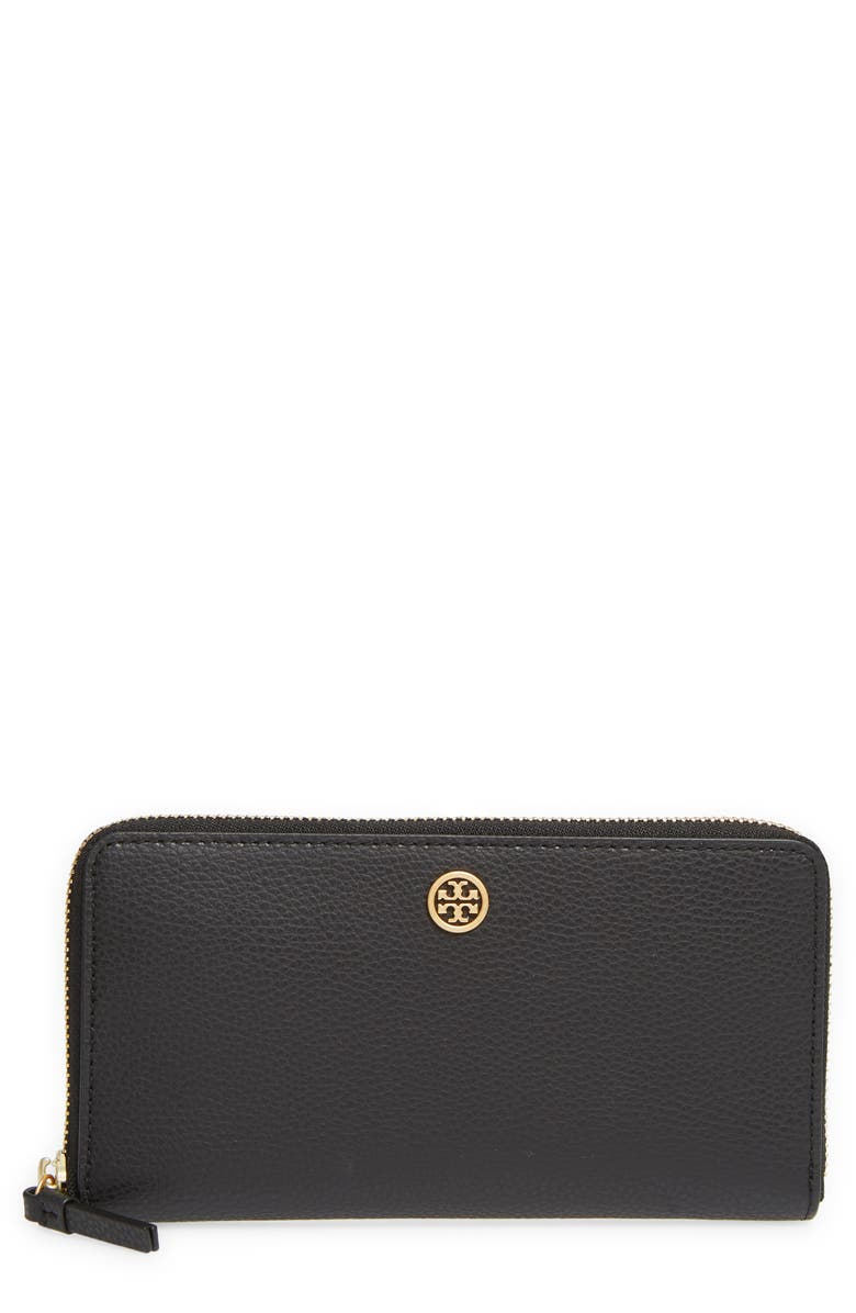 TORY BURCH Walker Leather Continental Zip Wallet, Main, color, BLACK