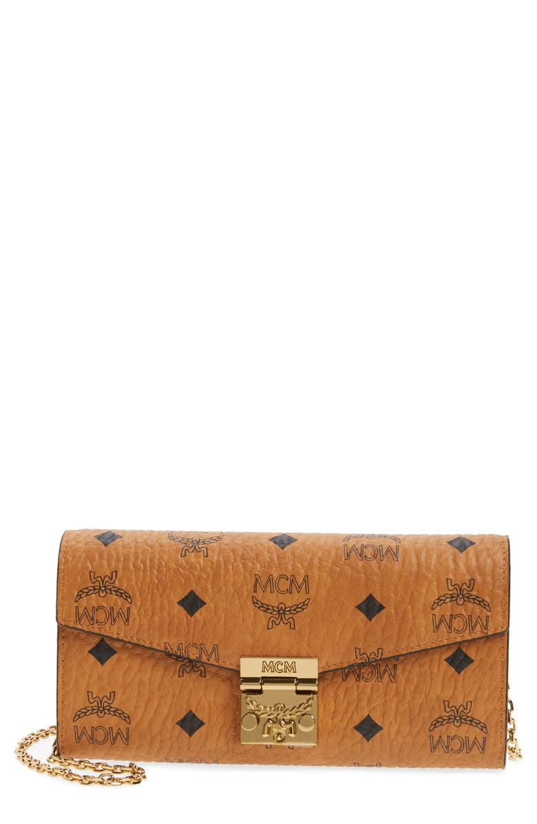 MCM Coated Canvas Wallet on a Chain, Main, color, COGNAC