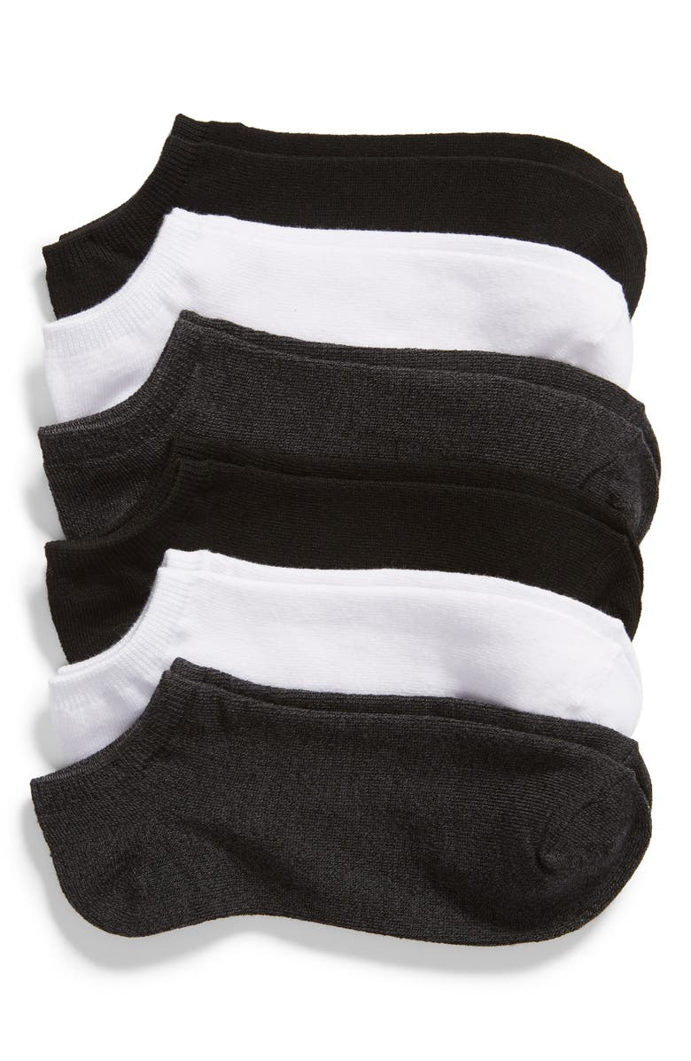 NORDSTROM 6-Pack Footie Socks, Main, color, CHARCOAL MULTI