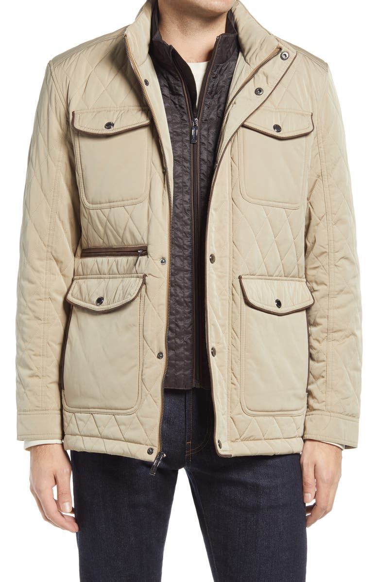 JOHNSTON & MURPHY Water Resistant Quilted Jacket, Main, color, TAN
