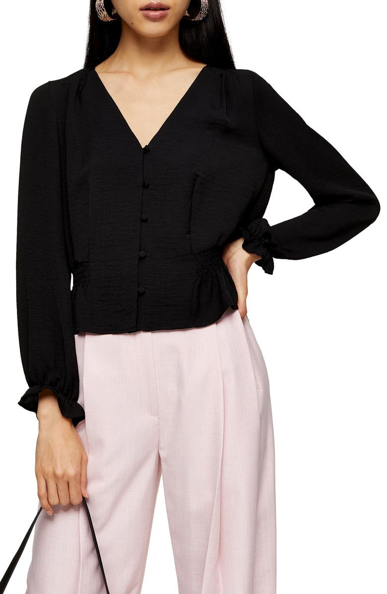 TOPSHOP Millie Twill Tea Top, Main, color, BLACK