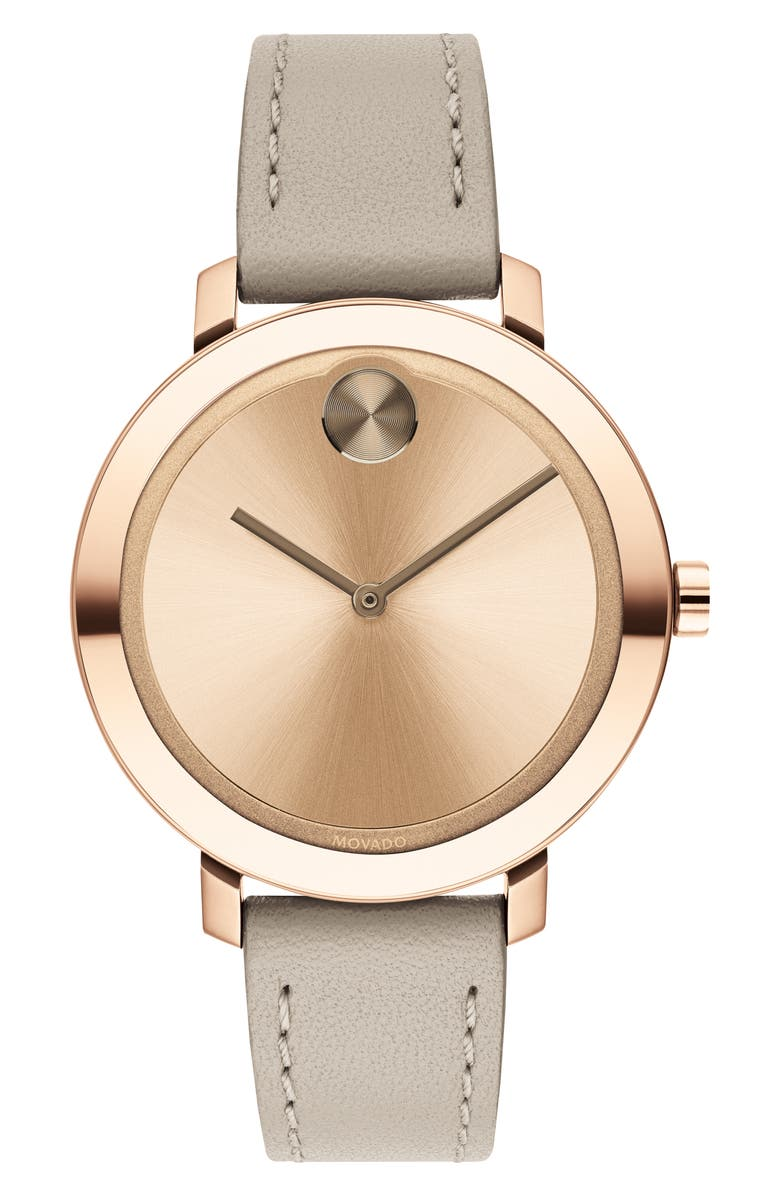 MOVADO Bold Leather Strap Watch, 34mm, Main, color, KHAKI/ CARNATION GOLD