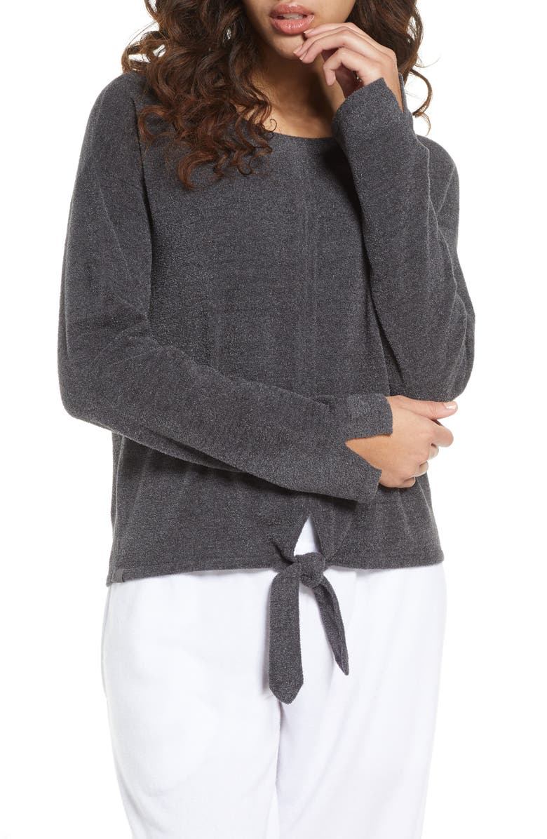 BAREFOOT DREAMS<SUP>®</SUP> CozyChic<sup>™</sup> Ultra Lite Tie Front Lounge Pullover, Main, color, 020
