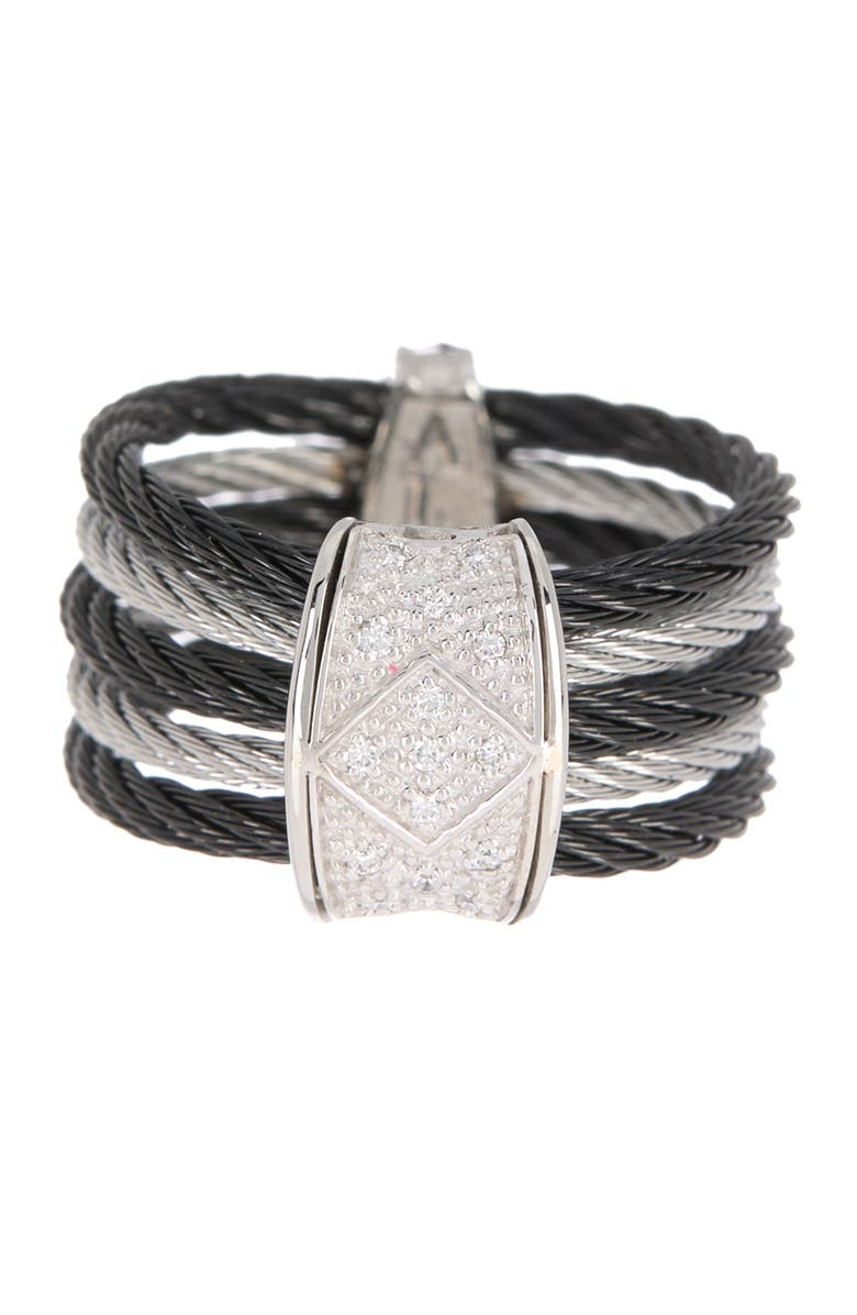 ALOR 18K White Gold Stainless Steel Diamond Cable Ring - Size 7 - 0.08 ctw, Main, color, MULTI