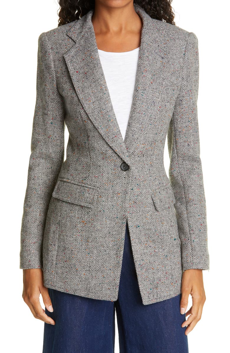 SMYTHE Wool Riding Blazer, Main, color, DOVE DONEGAL