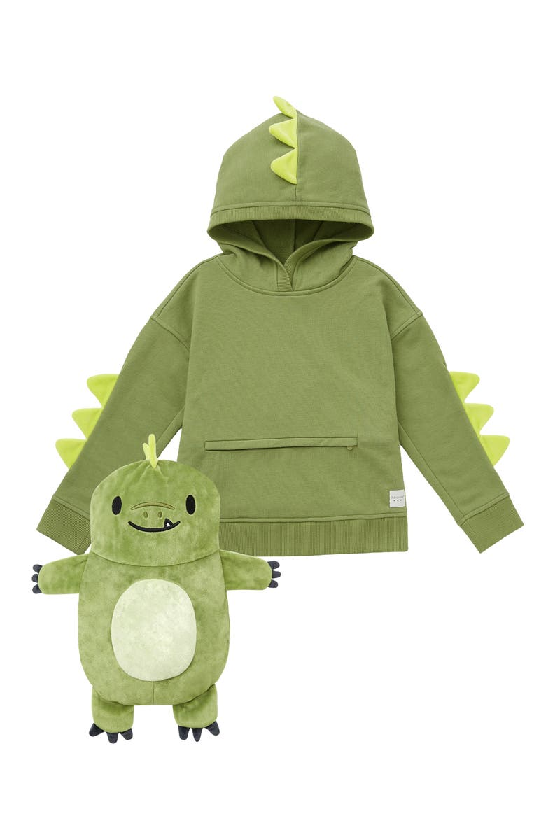 CUBCOATS Kids' Dayo the Dinosaur 2-in-1 Stuffed Animal Hoodie, Main, color, GREEN