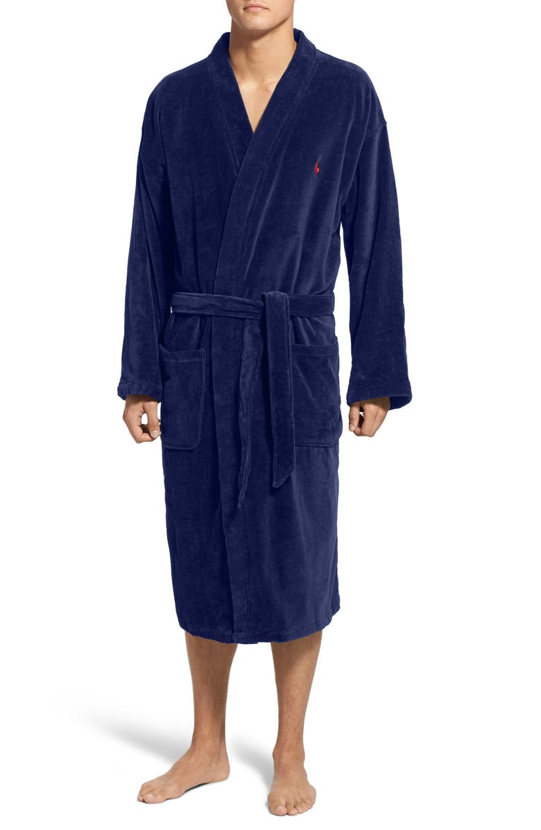 POLO RALPH LAUREN Cotton Fleece Robe, Main, color, NAVY