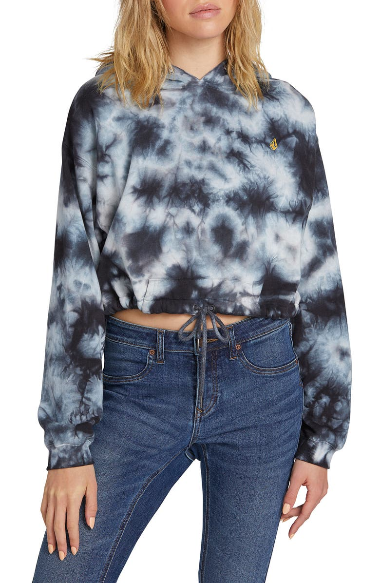 VOLCOM Knot It Tie Dye Crop Hoodie, Main, color, 005